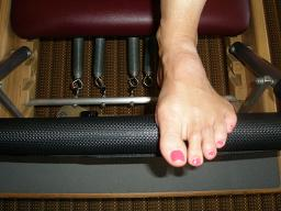 Foot on Pilates Reformer Backbone and Wingspan NYC Small