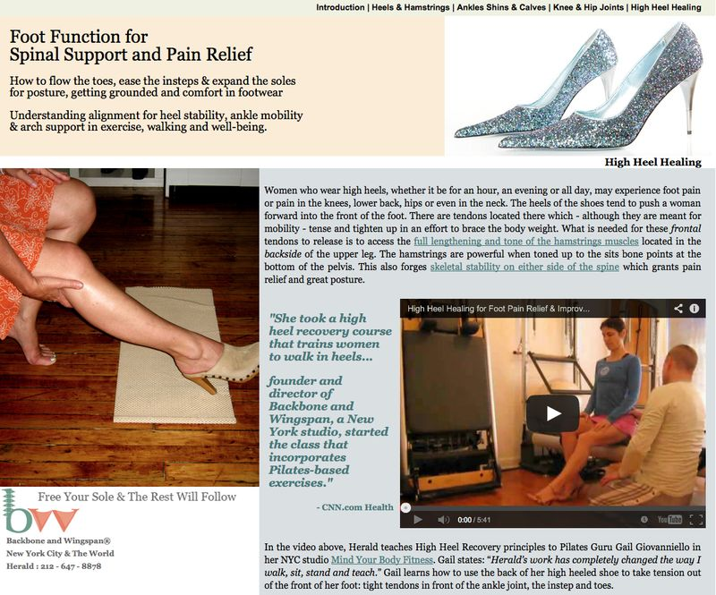 Website for high heel foot pain relief